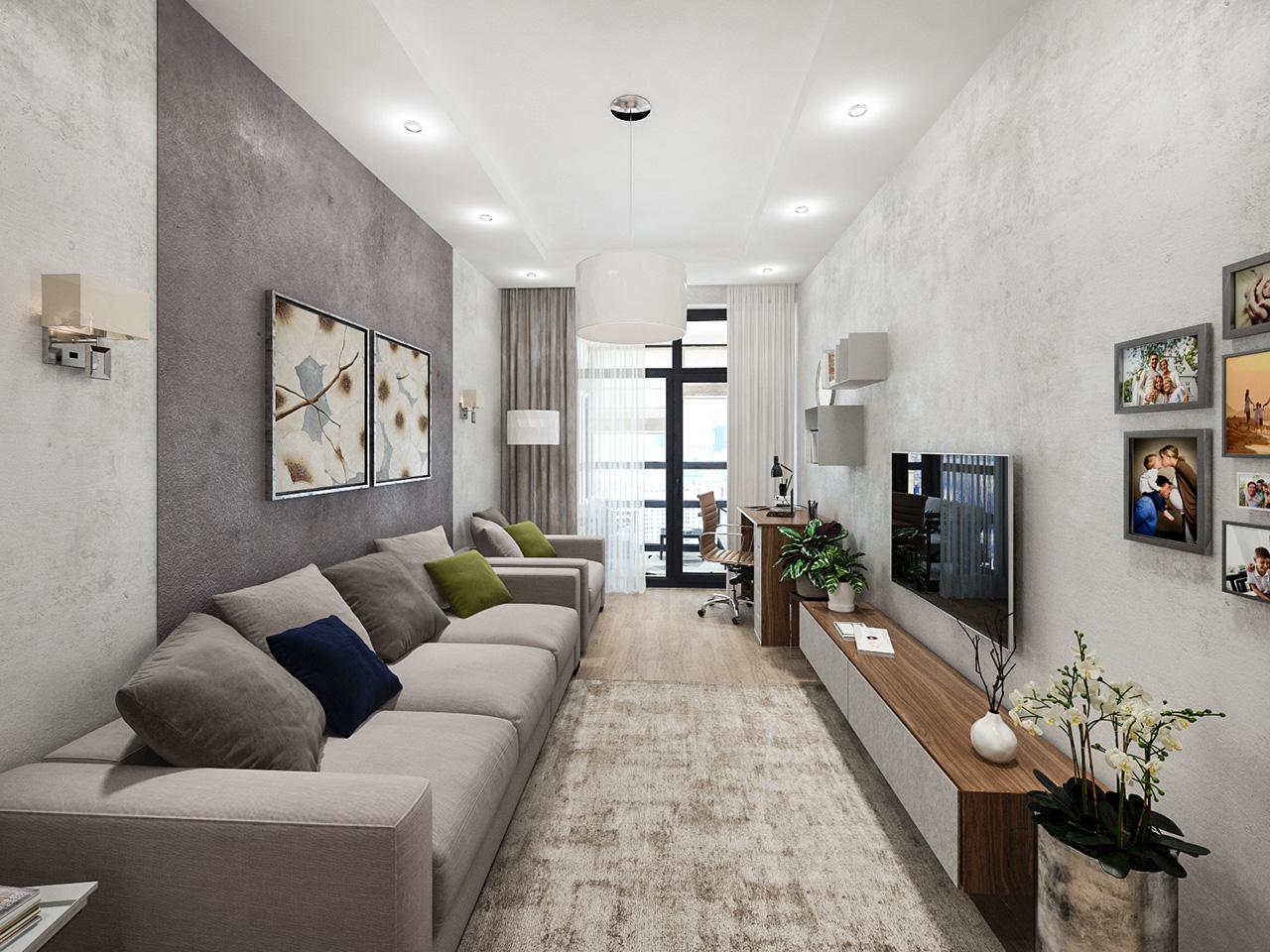 Дизайн интерьера однокомнатной квартиры в ЖК Береговой, г. Москва