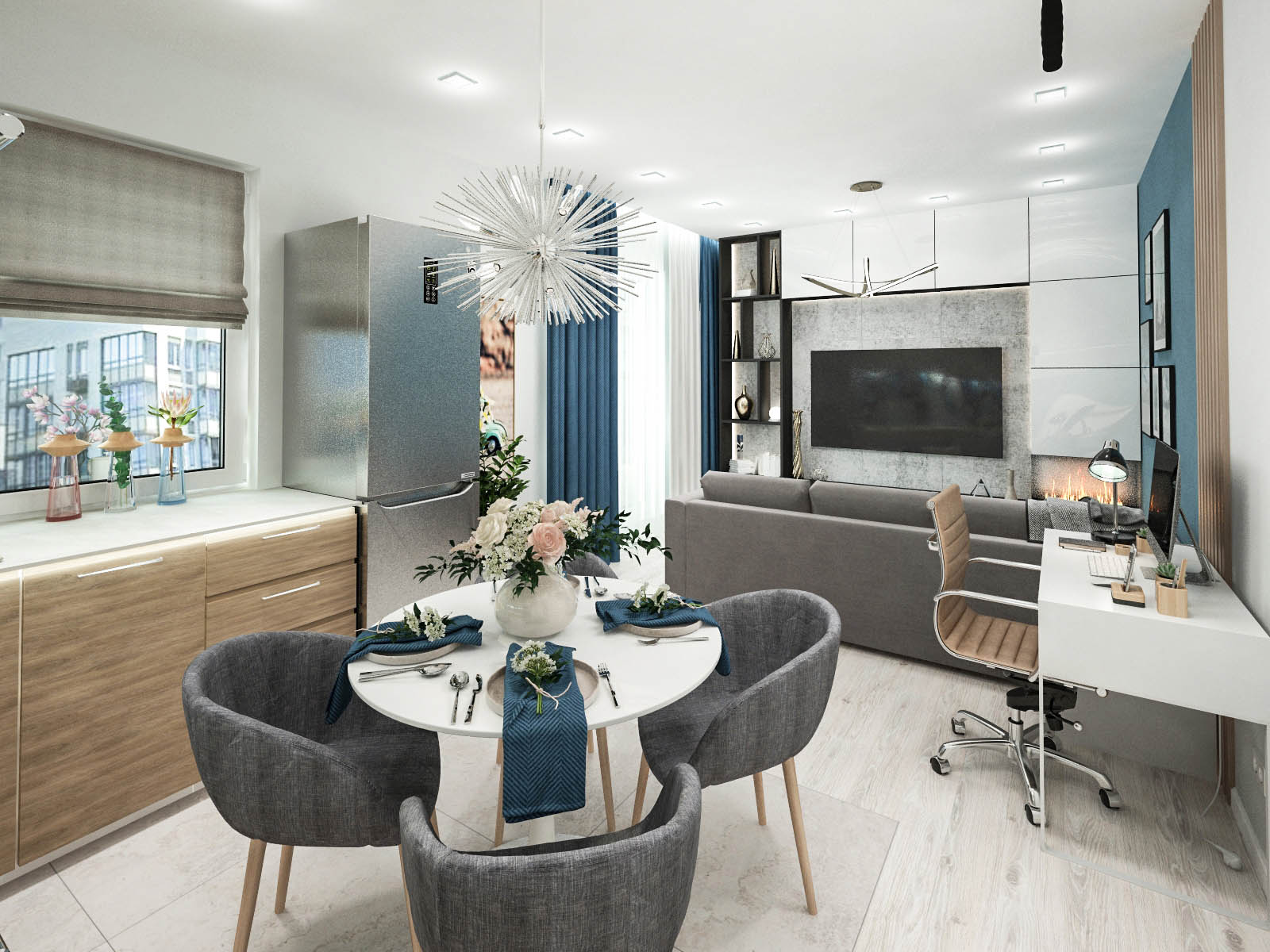 Дизайн интерьера 2-х комнатной квартиры ЖК Пирс