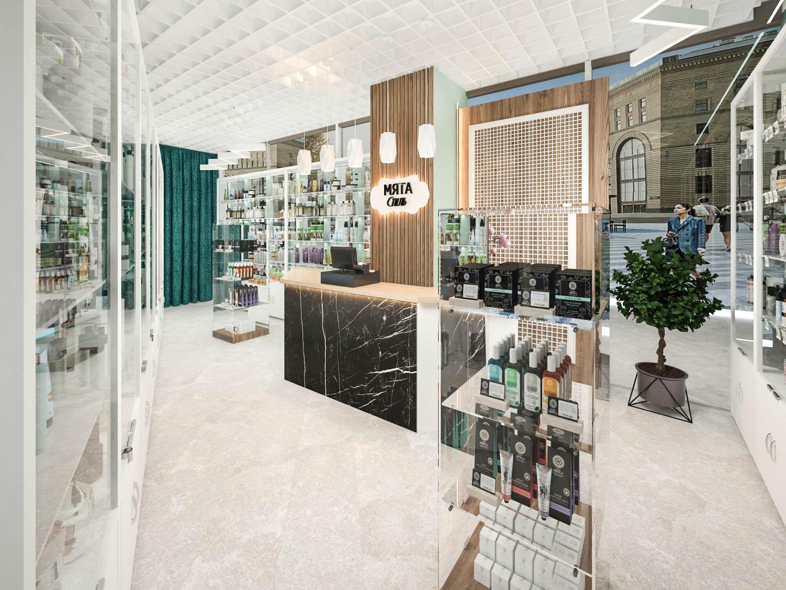 Дизайн интерьера магазина косметики Мята Стиль