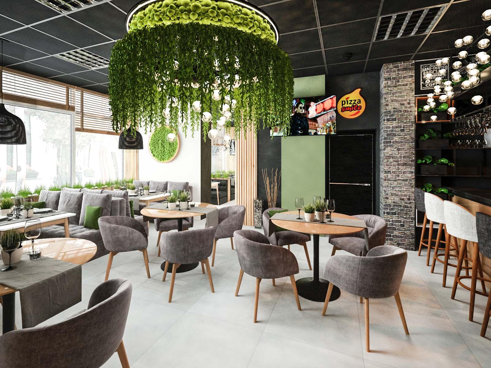 Дизайн интерьера кафе-пиццерии Pizza Smile в Солигорске