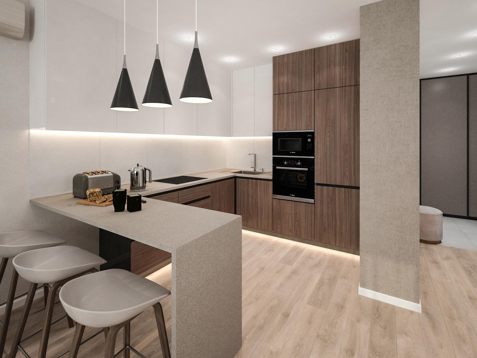 Дизайн интерьера 2-х комнатной квартиры на пр-те Дзержинского, 92