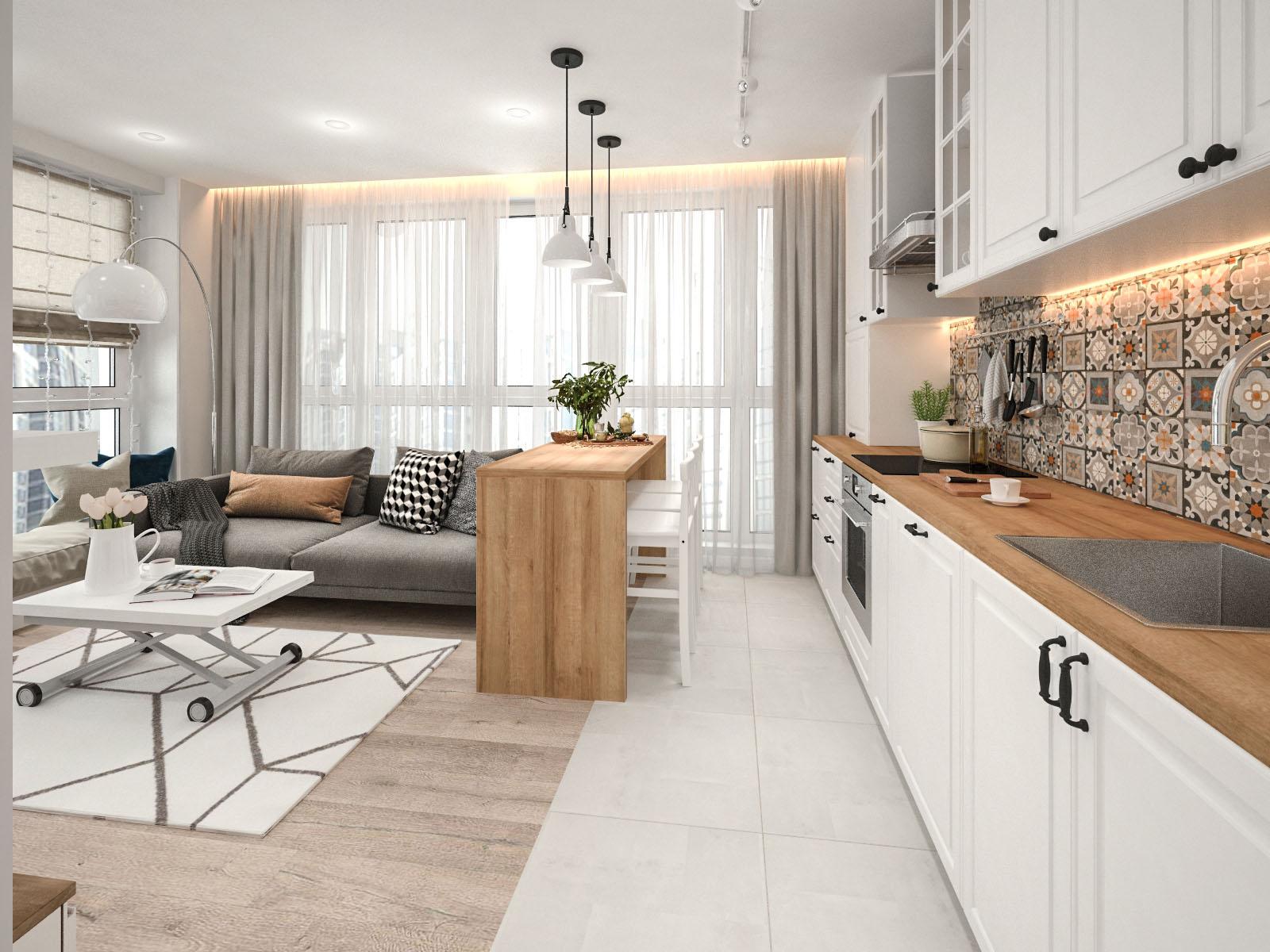 Дизайн интерьера 2-х комнатной квартиры в доме Сочи ЖК Минск Мир