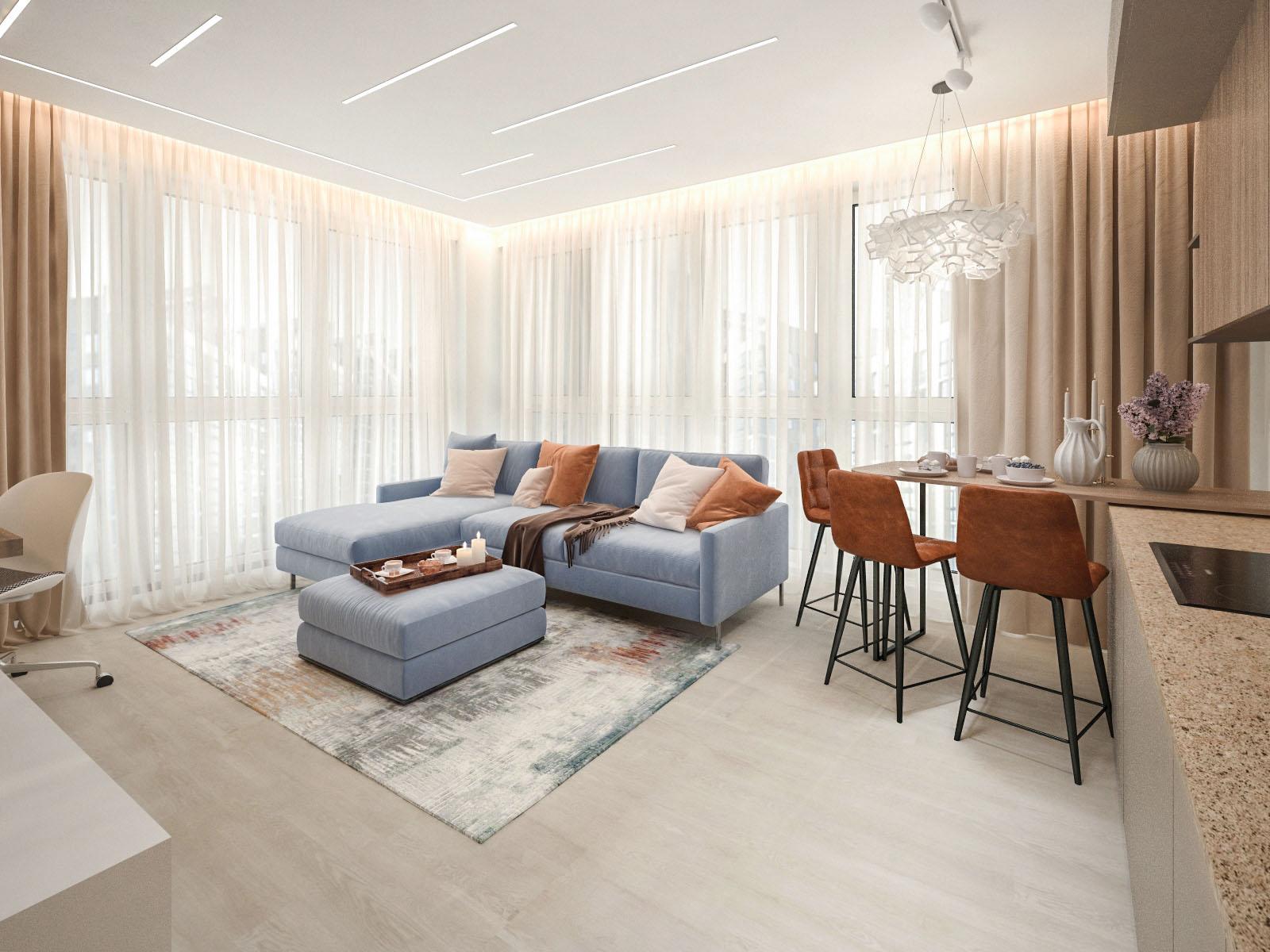 Дизайн интерьера двухкомнатной квартиры в доме Сочи ЖК Минск Мир